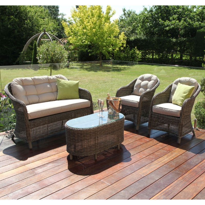 Outdoor Patio Couch Set, Buy Winchester Round High Back Garden Sofa Set Brown Online At Cherry Lane