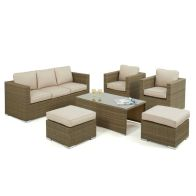 See more information about the Tuscany 6 Piece 3 Seat Garden Sofa Set Brown