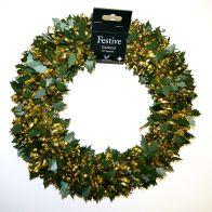 Tinsel Wreath - Gold With Green Holly