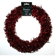 Tinsel Wreath - Red Curly Design
