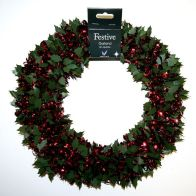 Tinsel Wreath - Red With Green Holly
