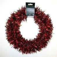 Tinsel Wreath - Red Plain Tinsel