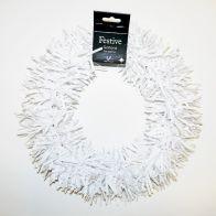 Tinsel Wreath - White