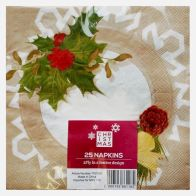 Christmas Lunch Napkin 25 Pack - Holly Design