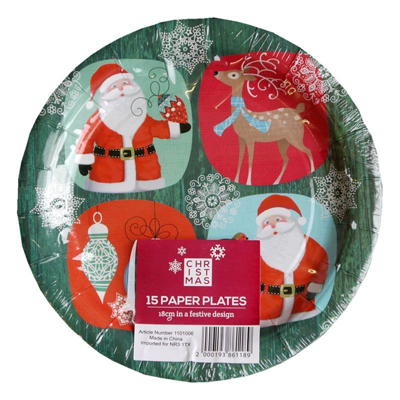 Zoom Image  sc 1 st  Cherry Lane & Buy Small Christmas Paper Plates 15 Pack - Santa And Rudolph Design ...