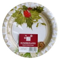 Small Christmas Paper Plates 15 Pack - Holly Design
