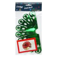 See more information about the Foil Ball Christmas Decoration 10 Inch Green & Gold