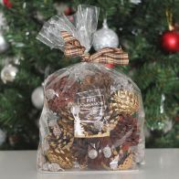See more information about the Festive Exotics Pine & Cinnamon Potpourri In A Bag - Tartan Ribbon