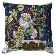 See more information about the 43x43cm Blue Santa On A Chimney Tapestry Cushion
