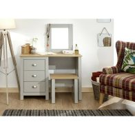 See more information about the Lancaster Dressing Table Grey & Oak 3 Drawer