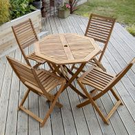 See more information about the Charles Bentley FSC Acacia Hardwood Octagonal Table 4 Chair Dining Set