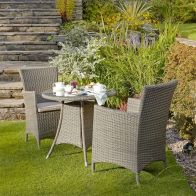 See more information about the Canterbury Rattan Round Garden Bistro Set Brown 2 Seats
