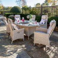 See more information about the Henley Rattan Oval Garden Dining Set & 3m Solar Parasol Brown 6 Seats