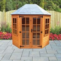 See more information about the Albany Sheds Oakdale 8' x 6' Octagonal Shiplap Wood Garden Summer House