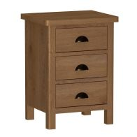 See more information about the Rutland Oak 3 Drawer Bedside Table Rustic