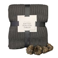 See more information about the Hamilton McBride Knitted Pom Pom Throw Dark Grey 127 x 152cm