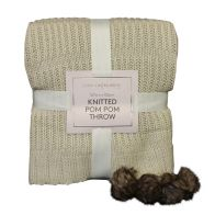 See more information about the Hamilton McBride Knitted Pom Pom Throw Cream 127 x 152cm