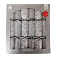 See more information about the 6 Christmas Party Crackers 15 Inch - Silver & White