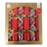 See more information about the 6 Christmas Party Crackers 15 Inch - Red & Tartan