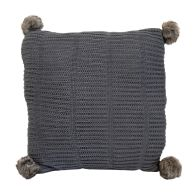 See more information about the Hamilton McBride Knitted Pom Cushion 50 x 50cm - Dark Grey