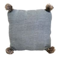 See more information about the Hamilton McBride Knitted Pom Cushion 50 x 50cm - Light Grey