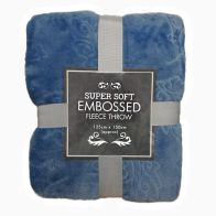 See more information about the Super Soft Embossed Fleece Throw 125 x 150cm - Blue Floral