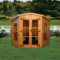 See more information about the Albany Sheds Devon 7' x 7' Corner Shiplap Wood Garden Summer House