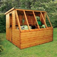 See more information about the Albany Sheds Dual 8' x 8' Pent Shiplap Wood Garden Potting Shed