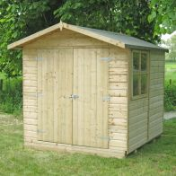 See more information about the Shire Alderney Pressure Treated Shiplap Garden Shed (7' x 7')