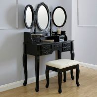 See more information about the Arabella Dressing Table Black 7 Drawer With Stool