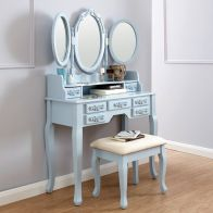 See more information about the Arabella Dressing Table Blue 7 Drawer With Stool