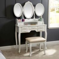 See more information about the Arabella Dressing Table White 7 Drawer With Stool
