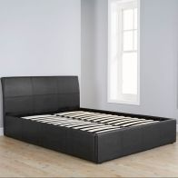 Ascot Black Faux End Lift Leather Ottoman Double 4ft 6in Bed Frame