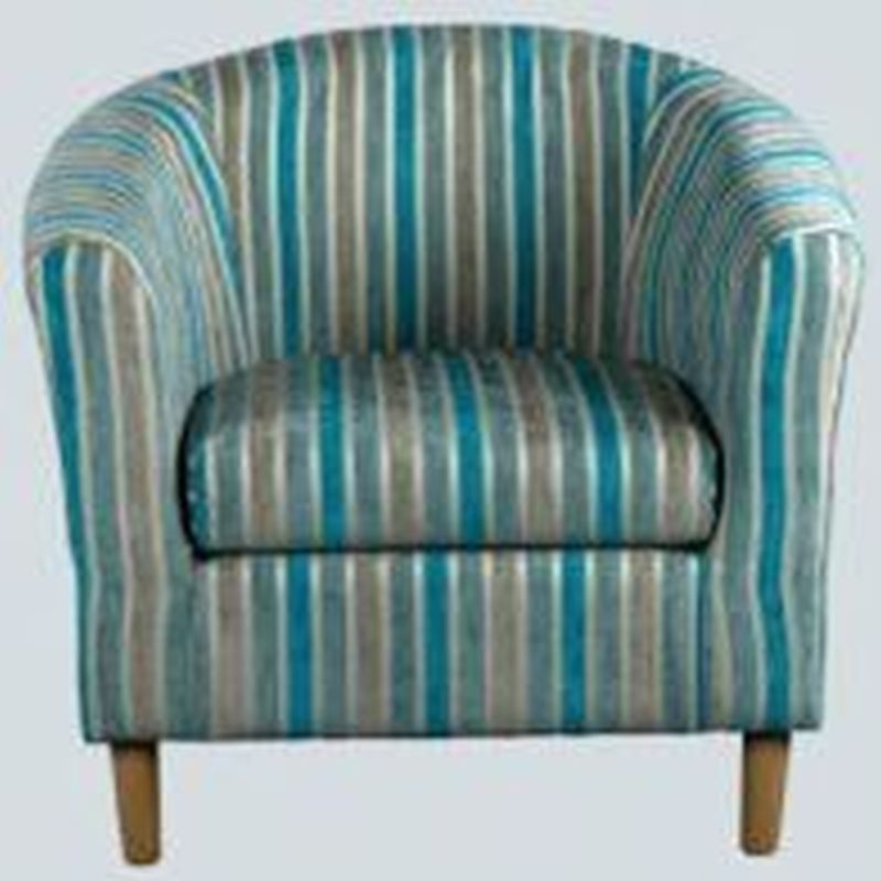Buy Teal Stripe Tub Chair - April - Online at Cherry Lane