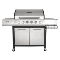 Premium 7 Burner Gas Garden Barbecue Side Burner - Black & Silver