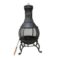 See more information about the 89cm Cast Iron Large Open Mesh Chimenea Heater - Black