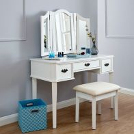 Bella White Dressing Table & Stool Set