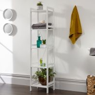 See more information about the Bergen Narrow Shelving Unit White 5 Shelf