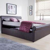 Carolina Brown Side Lift Ottoman King Size 5ft Bed Frame