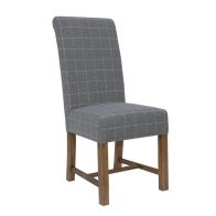 See more information about the Urban Chesterfield Woolen Upholstered Dining Chair Chequered Grey