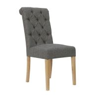See more information about the Lancelot Button Back Scroll Top Dining Chair Dark Grey