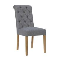 See more information about the Lancelot Button Back Scroll Top Dining Chair Light Grey