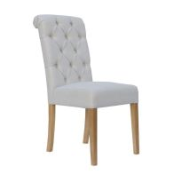 See more information about the Lancelot Button Back Scroll Top Dining Chair Natural