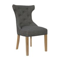 See more information about the Lancelot Winged Button Back Dining Chair Dark Grey