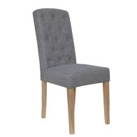 See more information about the Lancelot Upholstered Button Back Dining Chair Light Grey
