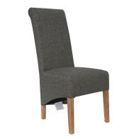 See more information about the Baxter Fabric Scroll Back Dining Chair Dark Grey