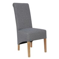 See more information about the Baxter Fabric Scroll Back Dining Chair Light Grey