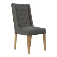 See more information about the Lancelot Button Back and Studded Dining Chair Dark Grey