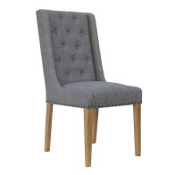See more information about the Lancelot Button Back and Studded Dining Chair Light Grey