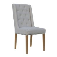 See more information about the Lancelot Button Back and Studded Dining Chair Natural
